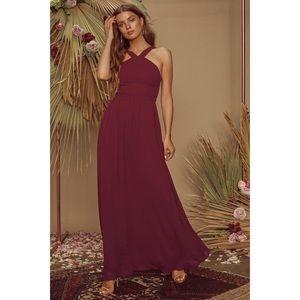 Lulus Air of Romance Burgundy Maxi Dress Small
